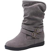 Zapatos Mujer Otoño Invierno Amlaiworld Moda Botas de Nieve Mujer Botines de Mujer Zapatos de Nieve cálida Botas de Plataforma Zapatos de tacón Zapatillas Zapatos Interiores (39, Gris)