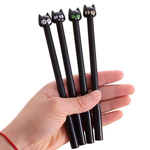 Bestim incuk 4Stück Niedliche schwarze Katze Kitty 0,5mm schwarzer Tinte Gel-Tintenroller, mit großen Kapazität contracted Katze Bleistift Tasche für Mädchen 4 Pack Cat Gel Pens