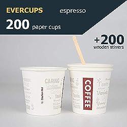 200 Espresso Gobelets en Carton 120ml / 4oz avec Agitateurs en Bois pour Café à Emporter. Gobelets jetables. Coffee to go. 100% Recyclable