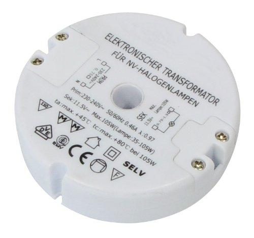 Preisvergleich Produktbild Transmedia LT5-3L Halogen-Trafo 230/12V/35-105W, Überlastungsschutz, Temperatursicherung, nicht dimmbar, ø 85 x 22 mm