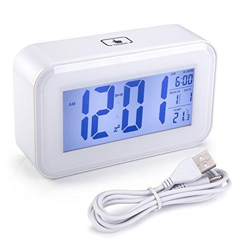 Modelo X-cuarzo despertador blanco automático de luz nocturna hay una sutil segundo