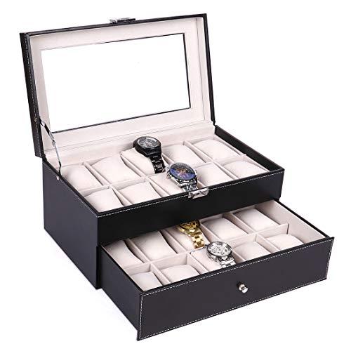 Leder Uhrenbox mit Schublade - 20-Slot Uhrengehäuse Display Organizer, Metallschnalle für Schmuckuhren, Herren Aufbewahrungsboxen Halter mit großer Glasplatte -