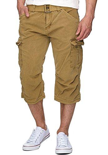 Indicode Herren Nicolas Check 3/4 Karierte Cargo Shorts inkl. Gürtel aus nachhaltiger Baumwolle Amber XXL