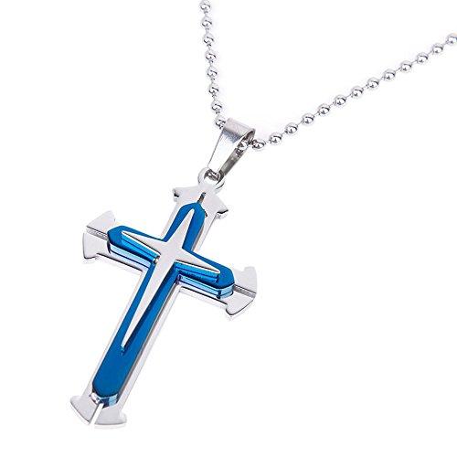 MESE London Blaues Kreuz Halskette aus Edelstahl in Luxus Geschenkbox (London Halskette Blau)