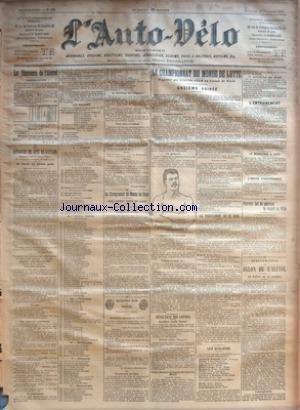 AUTO VELO (L') [No 399] du 17/11/1901 - LE CONCOURS DE L'ALCOOL - RECTIFICATION PAR N. D. L. D. - LE CONCOURS DE COTE DE GAILLON - LE VEILLE DU GRAND JOUR PAR GEORGES PRADE - LE CHAMPIONNAT DU MONDE DE BOXE - JAMES JEFFRIES CONTRE GUS RUHLIN PAR RAY - AUTOMOBILE CLUB DE FRANCE - LE CHAMPIONNAT DU MONDE DE LUTTE - ONZIEME SOIREE - RESULTATS DES LUTTES - LE PROGRAMME DE CE SOIR - LES QUALIFIES - L'ENTRAINEMENT - LE BEAUCAIROIS A PARIS - L'ARRIVEE D'HACKENSCHMIDT PAR L.