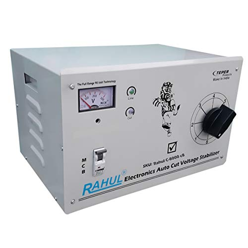 Rahul C-8000 c8 Kva/32 Amp Manual 8 Booster Input 90-260 Volt Output 200 Volt Indoor,Outdoor/D.J. Party,Light,sound System/Led Light/Home,Farm House,Office,use the Light,Machine or any Home Appliances to Increase The Voltage, Mainline Use Up to 8 Kva Load Autocut Copper Voltage Stabilizer