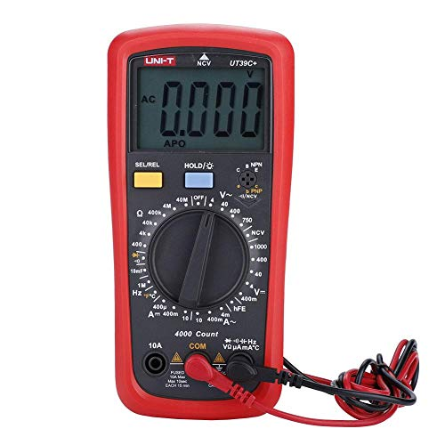 Akozon UNI-T Multímetro digital AC/DC Voltímetro Amperímetro Capacitancia Resistencia Continuidad Pruebas de frecuencia Diodos Transistores Probador de temperatura(UT39C+)