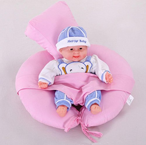 GxNI Almohada de lactancia, Almohada de pecho de bebé, madre embarazada U-tipo Almohadilla de alimentación multifuncional Almohada Almohada de bebé 75 * 65cm , pink