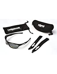 Ladgecom Black & Silver Reflective Mirrored Sports Sun Glasses for Cycling & Running with Headband Strap