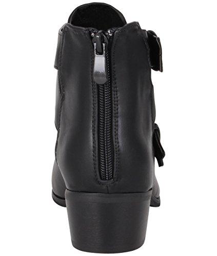 KRISP® Femmes Bottines Chelsea Catisa Découpées Tendance Mode Nouveautés Printemps/Eté 17 Noir