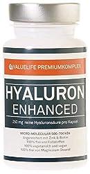 AUSVERKAUF Hyaluron Enhanced: 250 mg Hyaluronsäure je Kapsel - Micro-Molekular 500-700 KDa - Beste Bioverfügbarkeit - Angereichert mit Zink + Biotin - 100% vegan - 2 Monatspackung von VALUELIFE