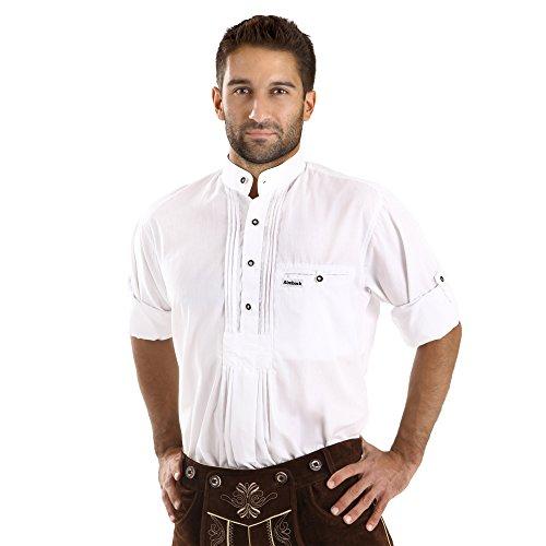 ALMBOCK Trachten Hemd Herren weiß | Trachtenhemd mit Stehkragen aus Baumwolle, fürs Oktoberfest, slim-fit, langarm | traditionelles Trachtenhemd verfügbar in Gr. S-XXXL