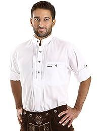 ALMBOCK Trachtenhemd Herren weiß | Slim Fit Trachten Hemden aus Baumwolle in Gr. S-XXXL | in 2 Modellen - mit Stehkragen und Standard Kent Kragen
