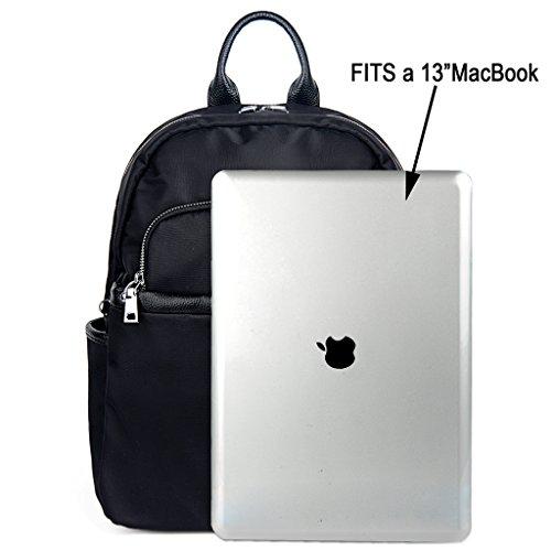 UTO 13.3 Laptop Borse a Zainetto Panno Di Oxford Nylon Impermeabile Unisex con Pelle Vero Maniglia Cinghie 2 Zaino per PC