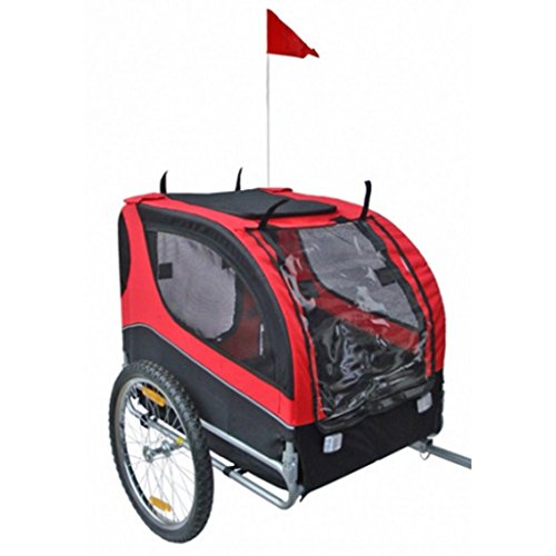 Hundeanhänger Fahrrad Hundefahrradanhänger rot-schwarz mit Sicherheits-Drehkupplung - 2