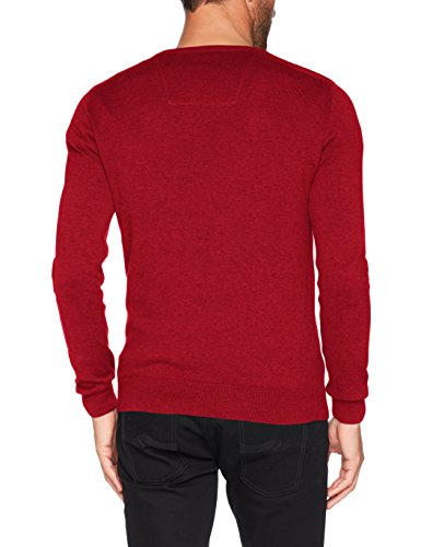 TOM TAILOR Herren Pullover Basic V-Neck Sweater Rot (Milano Red Melange 4777)