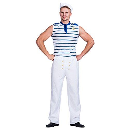 EraSpooky Bianco Uomo Marinaio Militare Uniforme Vestito