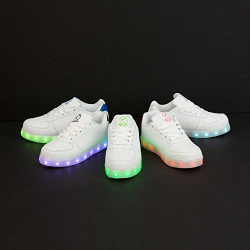 Kossem Chaussures LED Unisexe Homme Femme enfant Basket Sports Lumineuse Clignotants 7 Couleur USB Charge blanc et noir