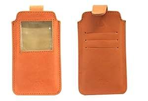 Jo Jo A10 Nillofer Leather Carry Case Pouch Wallet S View For QMobile Noir Z9 Plus Orange