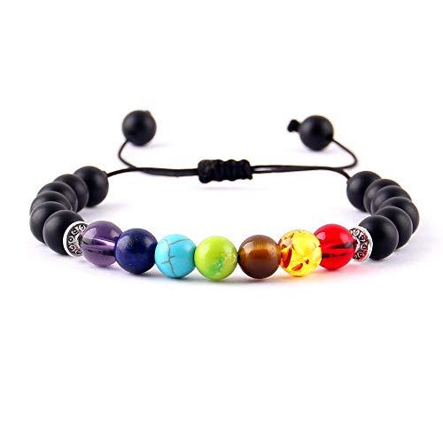 Imagen de lihaitao yoga 7 cuentas de piedra pulseras del encanto de cristal brillantes chakras curación equilibrio macramé trenzan las mujeres pulseras y brazaletes de hombre accesorios metal color  4254f