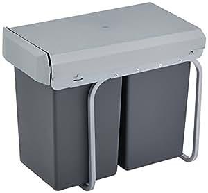 Wesco 755 611-11 New Double-Boy Einbaueimer 2x 15 Liter, 39 x 25 x 45 cm, Silber/anthrazit