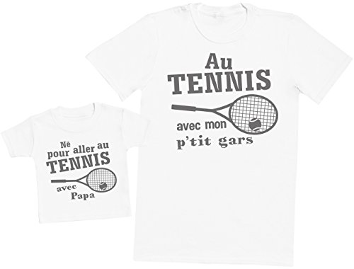 Zarlivia Clothing Né pour Aller au Tennis avec Papa - Ensemble Père Bébé Cadeau - Hommes T-Shirt & T-Shirt bébé - Blanc - M & 3-6 Mois