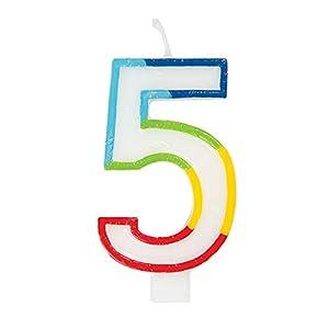 Unique Party 19945 - Vela de cumpleaños con borde arcoíris número 5