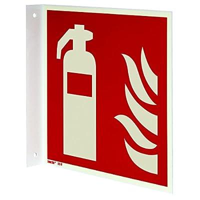 Brandschutzzeichen Fahnenschild, Feuerlöscher, Aluminium langnachleuchtend, gemäß ASR A1.3/ISO 7010