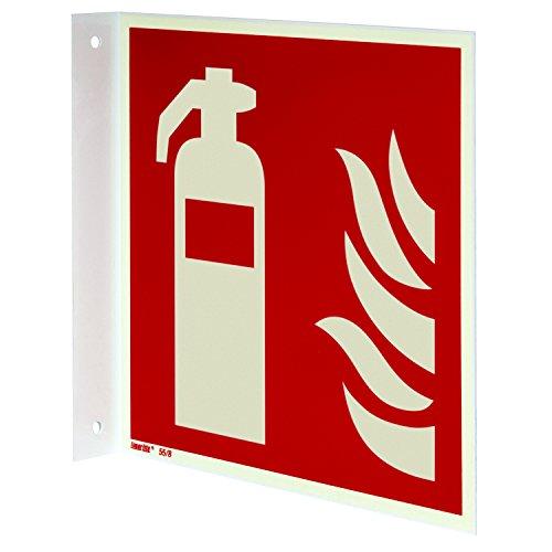 Feuerlöscher Fahnenschild, Aluminium langnachleuchtend, 200 x 200 mm gemäß ASR A1.3 / ISO 7010 F001, Brandschutzzeichen, 20 x 20 cm
