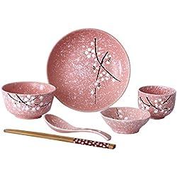 BESTONZON Juego de Vajilla de Cerámica Japonesa 6 piezas Juego de Vajilla de Cerámica Hogar (Rosa)