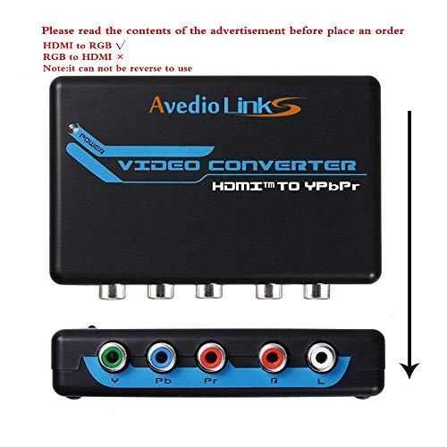 avedio Links HDMI zu Component Video (YPbPr) RGB 1080p + R/L Audio Output 2 Kanäle LPCM Konverter Adapter unterstützt PS3, PS4, Blu-ray DVD, Xbox, Notebook HDMI to Component Rgb-component-audio