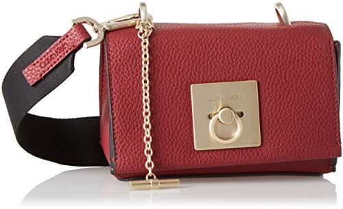 9581e5a957 Calvin Klein Jeans Damen Ck Lock Small Flap Crossbody Umhängetasche, Rot  (Red Rock), 8x12x17 cm