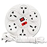 #4: MRD dot 6 Way Multi Purpose Round Body with Indicator & safty Fuse one On-Off Switch with 3 Meter Wire Extension Board/Power Strip/Extension Cord/Surge.
