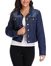 72b97702a3c940 ANIENAYA Womens Denim Jackets Fashion Jean Jackets Turn Down Collar Basic  Chest Pockets Single Breasted Deep