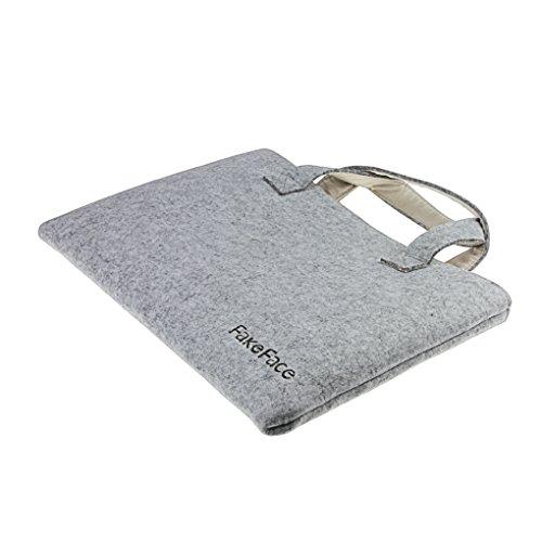 Laptotasche aus Filz Hülle Handtasche Notebooktasche Aktentasche Henkeltasche Ultraleicht für Laptop Notebook iPad Tablet bis 16 Zoll-HELLGRAU Hellgrau