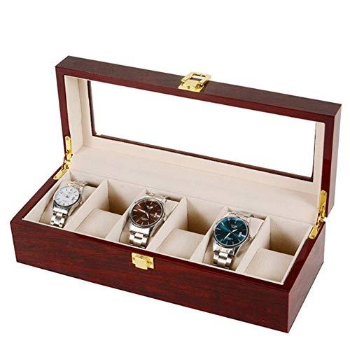 Asvert Uhrenbox für 6 Uhren mit Glasanzeige Oberseite, elegantes Aussehen,Schmuck-Boxen Aufbewahrungsboxen Display-Boxen, braune Farbe -
