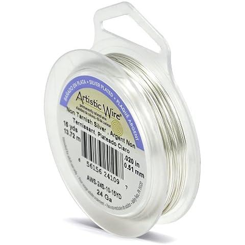 Beadalon - Rollo de alambre para manualidades (calibre 24, 13,71m), color plateado