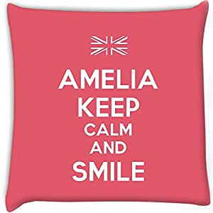 Snoogg Amelia Keep Calm And Smile Digitally Printed Cushion Cover Pillow 20 x 20 Inch