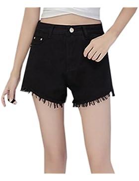 JackenLOVE Donna Jeans Pantaloncini Casual Hot Pants Shorts a Vita Alta Moda Denim Corto Pantaloni con Frange