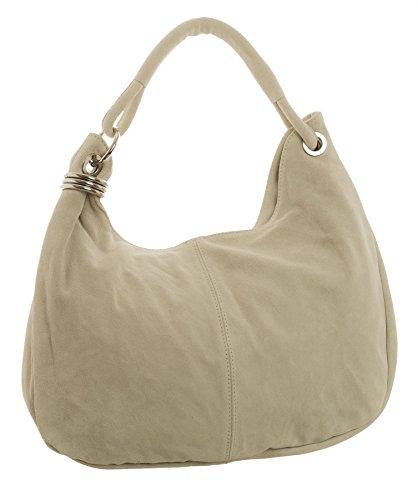 Big Handbag Shop - Borsa a spalla da donna, grande, in vera pelle scamosciata italiana Beige (BH101)