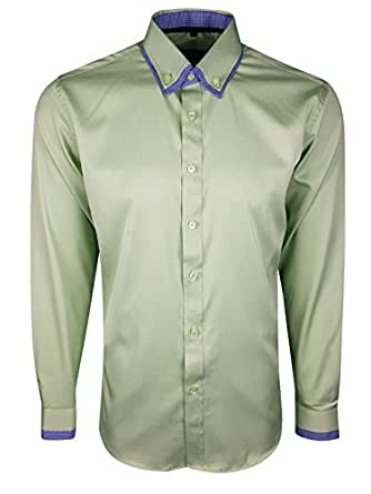 . Navy - Shirt 387 Dominic Stefano Buttoned Collar Check Smart Casual Mens