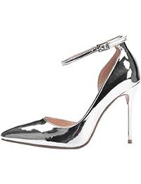 f5e56586e79b9 RSHENG Chaussures à Talons Hauts en Argent Argentéà Talons Hauts en Cuir  Verni Argenté ...