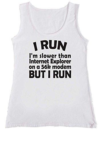 I Run I'm Slower Than Internet Explorer 56K Modem Women Ladies Vest Tank Top T Shirt