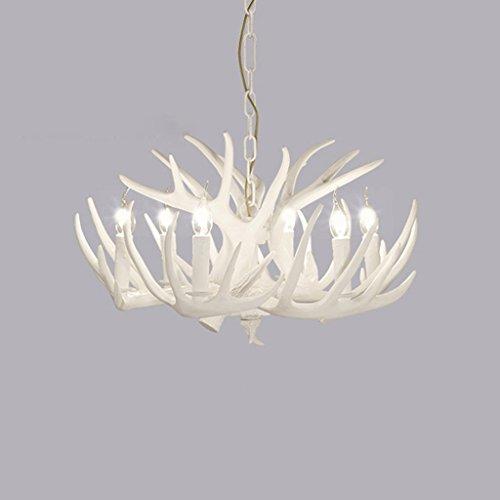 Bois De Cerf Nordique Lampe De Restaurant Blanc Lampe De Jardin Chambre Pays Lampe Rétro Salon Antler Lustre (6 Têtes)