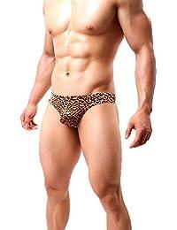 XinGe Hombres Leopard Panties Low cintura Underpants U Convex G-cuerdas Tangas T-back