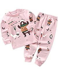 Yying Manga Larga Pyjama Sets Conjuntos de Pijama para Niñas Niño Pijama con Estampado de algodón de Ajuste cómodo de 2 Piezas 90cm-120cm