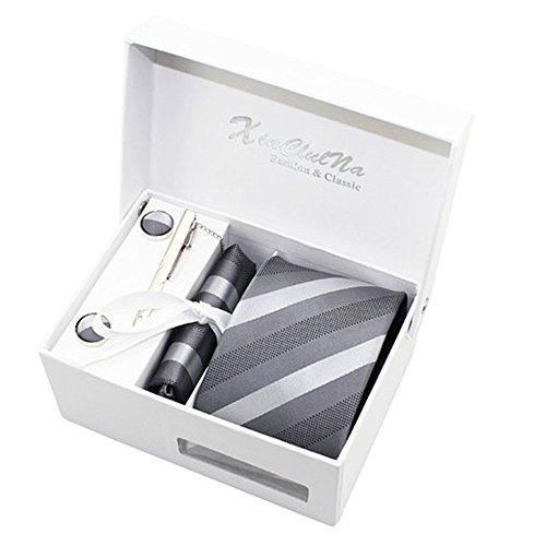 Newland Herren handgemachte Polyester Silk Regular breite Krawatte mit manschettenknöpfe Einstecktuch und krawattenklammer Grau 3.15