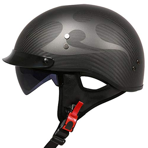 G-AVERIL Carbonio Fibra Jet Moto Casco Cruiser Micrometric Buckle DOT Certified Matt nero(Ghost)