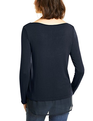 Street One U-Boat Shirt with Layer, Maglietta a Maniche Lunghe Donna Grau (Neo Grey 11017)
