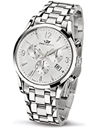 Philip Sunray Men's Quartz Watch with White Dial Chronograph Display and Silver Stainless Steel Strap R8273908145